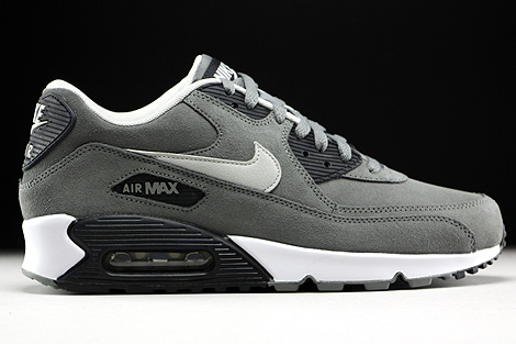 Nike Air Max 90 Leather Tumbled Grey Night Silver Black White Right