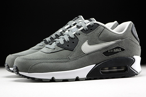 Nike Air Max 90 Leather Tumbled Grey Night Silver Black White Profile
