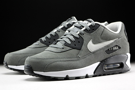 Nike Air Max 90 Leather Tumbled Grey Night Silver Black White Sidedetails
