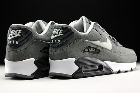 Nike Air Max 90 Leather Tumbled Grey Night Silver Black White Back view