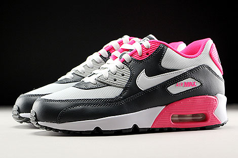Nike Air Max 90 Mesh GS Anthracite White Hyper Pink Profile