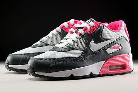 Nike Air Max 90 Mesh GS Anthrazit Weiss Pink Seitendetail