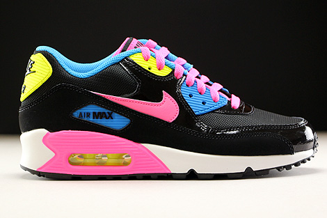 Nike Air Max 90 Mesh GS Black Pink Pow White Photo Blue
