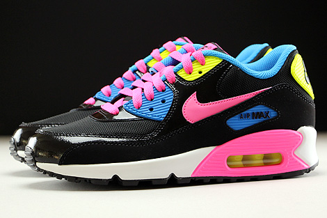 Nike Air Max 90 Mesh GS Black Pink Pow White Photo Blue Profile