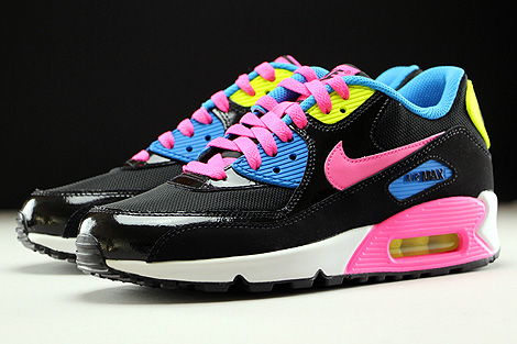 Nike Air Max 90 Mesh GS Black Pink Pow White Photo Blue Sidedetails