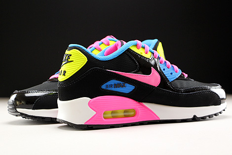 Nike Air Max 90 Mesh GS Black Pink Pow White Photo Blue Inside
