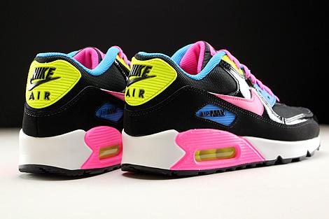 Nike Air Max 90 Mesh GS Schwarz Pink Weiss Blau Rueckansicht