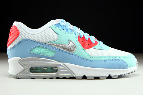 Nike Air Max 90 Mesh GS White Metallic Silver Lakeside Artisan Teal