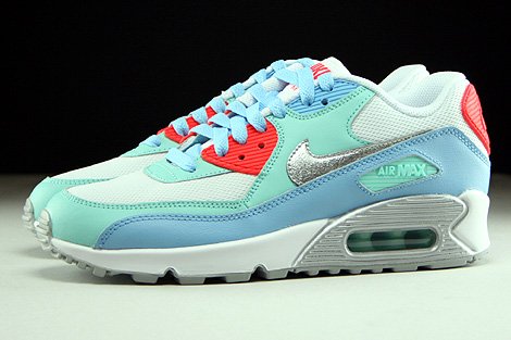 Nike Air Max 90 Mesh GS White Metallic Silver Lakeside Artisan Teal Profile