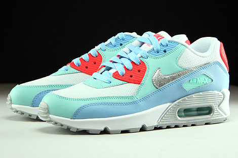 Nike Air Max 90 Mesh GS White Metallic Silver Lakeside Artisan Teal Sidedetails