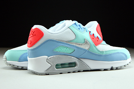 Nike Air Max 90 Mesh GS White Metallic Silver Lakeside Artisan Teal Inside