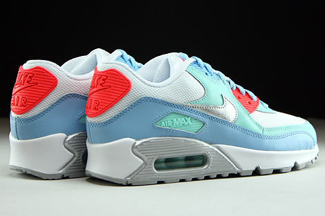Nike Air Max 90 Mesh GS White Metallic Silver Lakeside Artisan Teal Back view