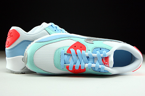 Nike Air Max 90 Mesh GS White Metallic Silver Lakeside Artisan Teal Over view