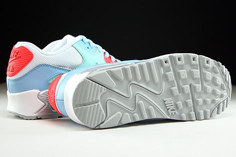 Nike Air Max 90 Mesh GS Weiss Silber Hellblau Mint Rot Laufsohle