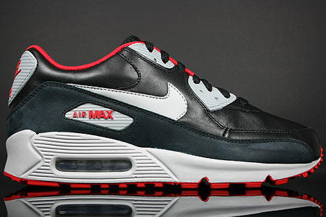 Nike Air Max 90 Premium Black Silver Sport Red