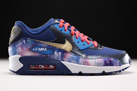 Nike Air Max 90 Premium Leather GS Dunkelblau Blau Gold Rot Rechts
