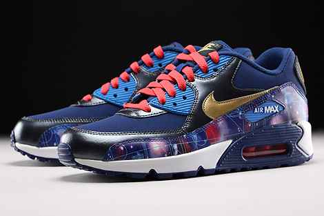 Nike Air Max 90 Premium Leather GS Dunkelblau Blau Gold Rot Seitendetail