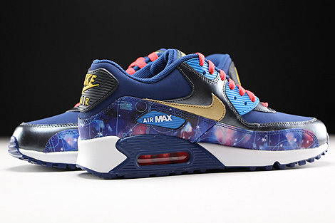 Nike Air Max 90 Premium Leather GS Dunkelblau Blau Gold Rot Innenseite