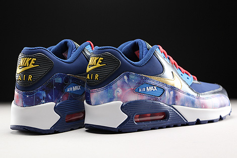 Nike Air Max 90 Premium Leather GS Dunkelblau Blau Gold Rot Rueckansicht