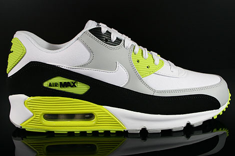 Nike Air Max 90 Premium Grau Weiss Schwarz Neongelb