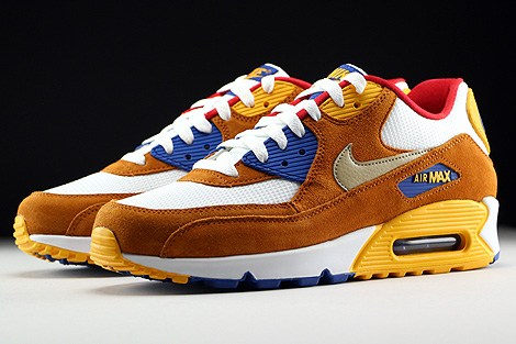 Nike Air Max 90 Premium White Metallic Gold Green Tawny Game Royal Sidedetails