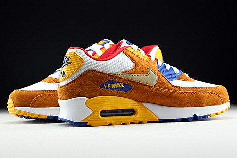 Nike Air Max 90 Premium White Metallic Gold Green Tawny Game Royal Inside