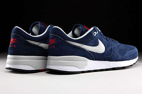 Nike Air Odyssey Leather Midnight Navy Neutral Grey University Red Back view