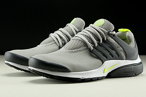 Nike Air Presto Essential Grau Neongelb Anthrazit Seitendetail