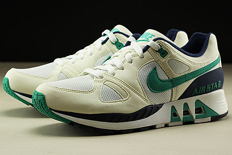 Nike Air Stab  White Emerald Green Sail Midnight Navy Sidedetails