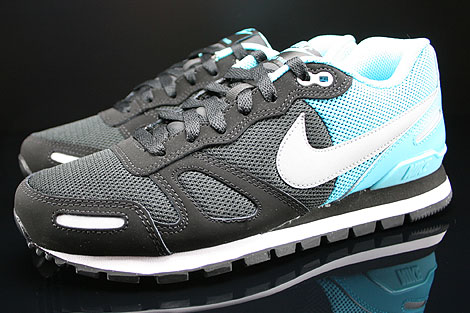 Nike Air Waffle Trainer Black Silver Gamma Blue White Profile