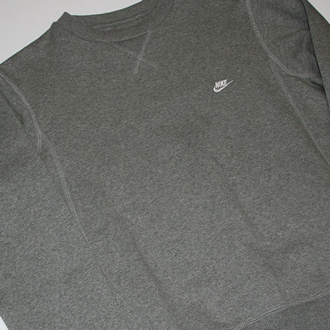 Nike Brushed Crew Fleece Sweater Grey Profile