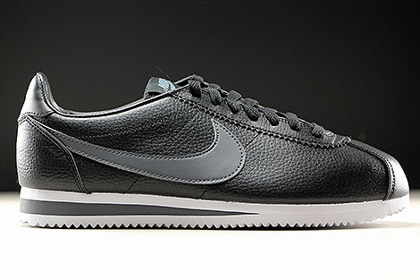 Nike Classic Cortez Leather Black Dark Grey White Right