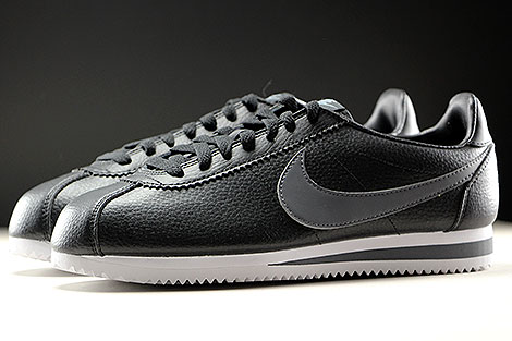 Nike Classic Cortez Leather Black Dark Grey White Profile