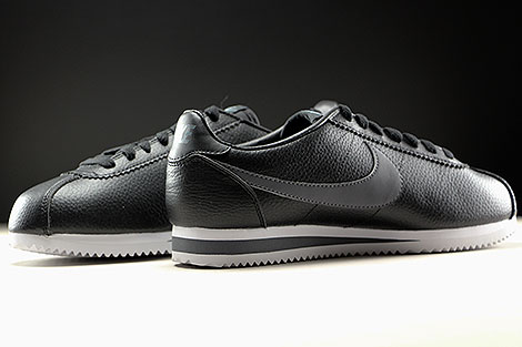 Nike Classic Cortez Leather Black Dark Grey White Inside
