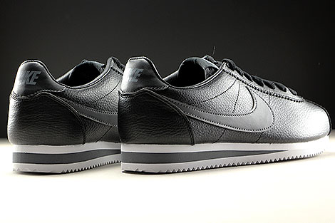 Nike Classic Cortez Leather Black Dark Grey White Back view