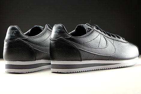 Nike Classic Cortez Leather Schwarz Dunkelgrau Weiss Rueckansicht