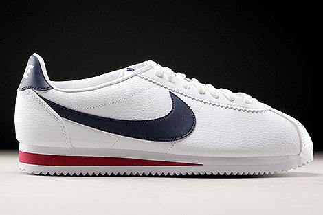 Nike Classic Cortez Leather White Midnight Navy Gym Red Right