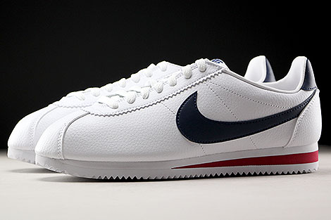 brand new 83566 ef80e ... Nike Classic Cortez Leather Weiss Dunkelblau Rot Seitenansicht ...