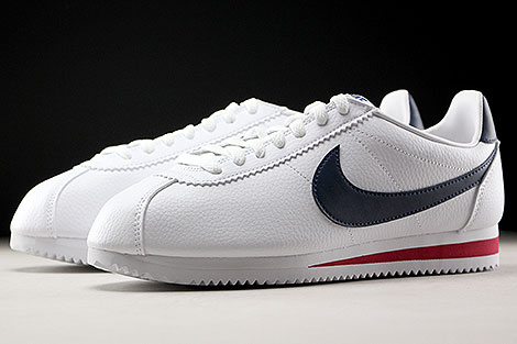Nike Classic Cortez Leather Weiss Dunkelblau Rot Seitendetail