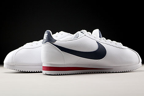 Nike Classic Cortez Leather White Midnight Navy Gym Red Inside