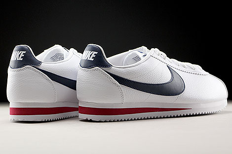 Nike Classic Cortez Leather White Midnight Navy Gym Red Back view