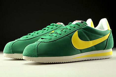 Nike Classic Cortez Nylon AW Gruen Gelb Creme Seitendetail