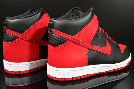 nike dunk high black and red