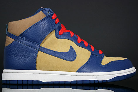 Nike Dunk Hi Curry Blau Rot Creme