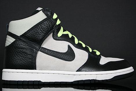 Nike Dunk Hi Light Bone Black Liquid Lime