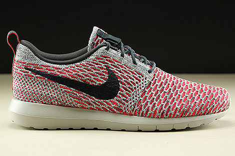 Nike Flyknit Rosherun Bright Crimson Anthracite Pure Platinum White Right