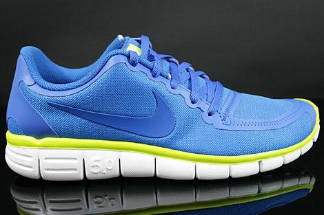 Nike Free 5.0 V4 Blau Weiss Neongelb Rechts