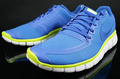 Nike Free 5.0 V4 Blau Weiss Neongelb Seitendetail