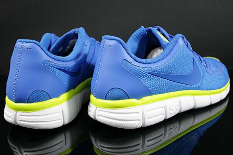 Nike Free 5.0 V4 Blau Weiss Neongelb Rueckansicht