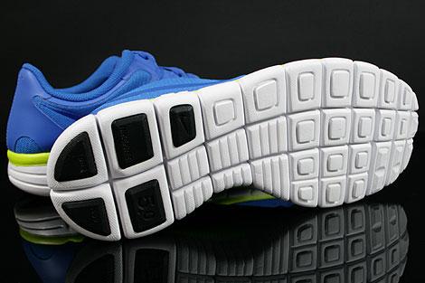 Nike Free 5.0 V4 Blau Weiss Neongelb Laufsohle